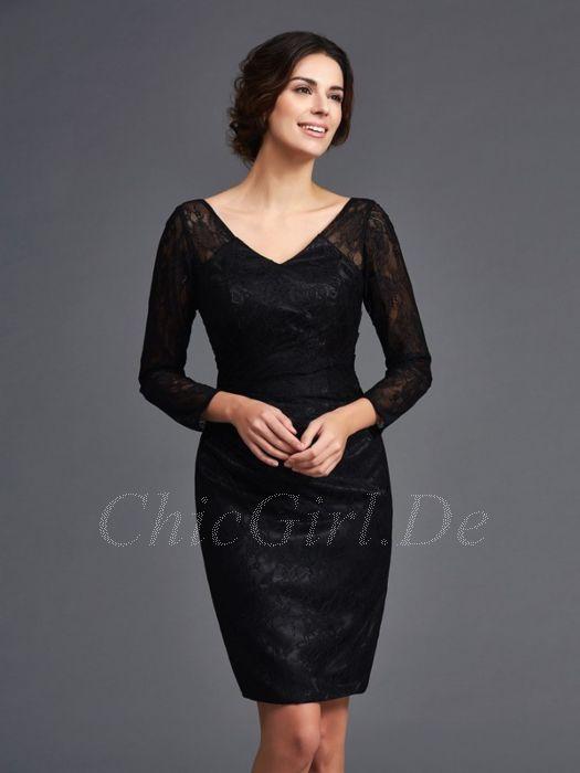Abendkleid Langarm Brautmutterkleider Etuikleid Kurz Schwarz Spitze V Ausschnitt