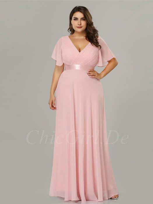 wähle echt heißes Produkt zu Füßen bei Abendkleider Für Mollige Brautjungfernkleider Große Größen Lang V  Ausschnitt Rosa Chiffon Mit Ärmel Gürtel
