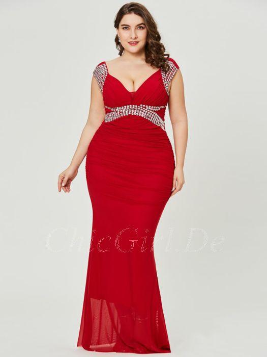 super popular b3cf9 0a986 Abendkleider Lang Große Größen Abiballkleider Für Mollige V Ausschnitt Rot  Jersey Mit Strass
