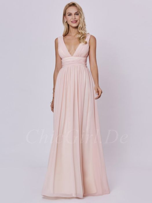 cheap for discount c94f9 5b3bd Brautjungfernkleider Hochzeit Abendkleid Tiefer V Ausschnitt Lang Pastell  Rosa Chiffon