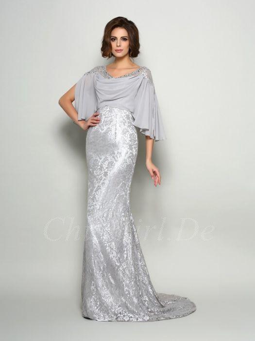 Brautmutterkleider Abendkleid Lang Silber Spitze Chiffon Mit Schleppe Ärmel
