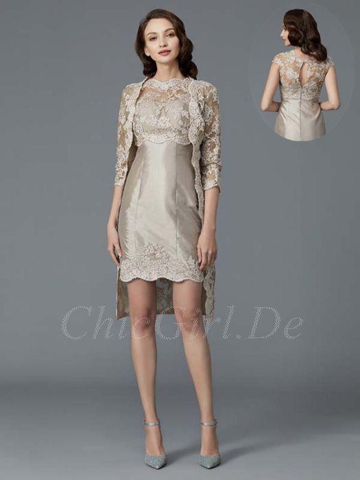 Brautmutterkleider Etuikleid Abendkleid Kurz Hochgeschlossen Beige Taft Spitze Jacke