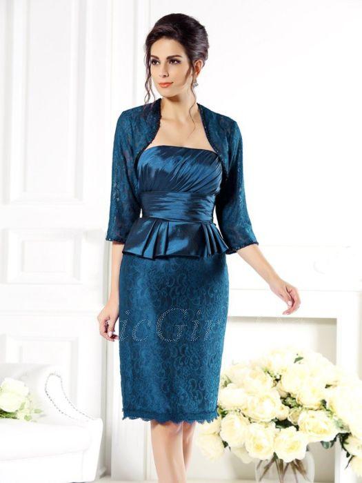 Brautmutterkleider Etuikleid Abendkleid Kurz Petrol Spitze Mit Schosschen Bolero Jacke