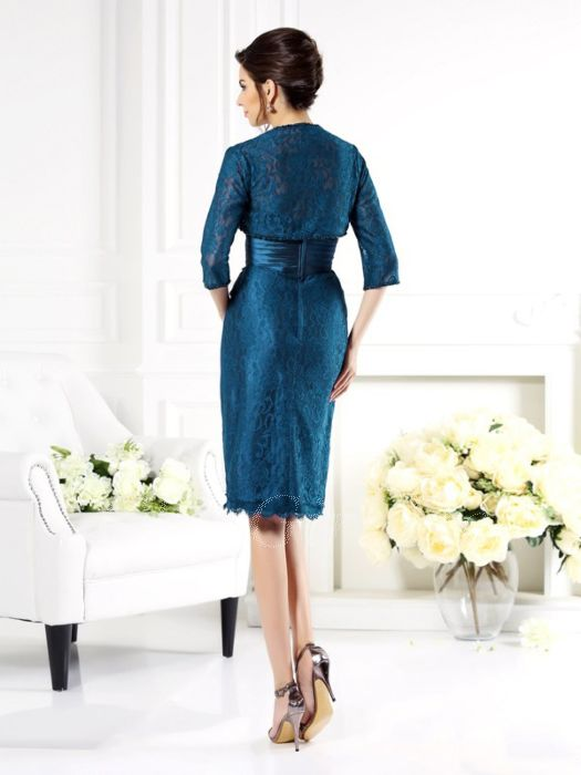 buy popular c03ef e1d15 Brautmutterkleider Etuikleid Abendkleid Kurz Petrol Spitze Mit Schößchen  Bolero Jacke