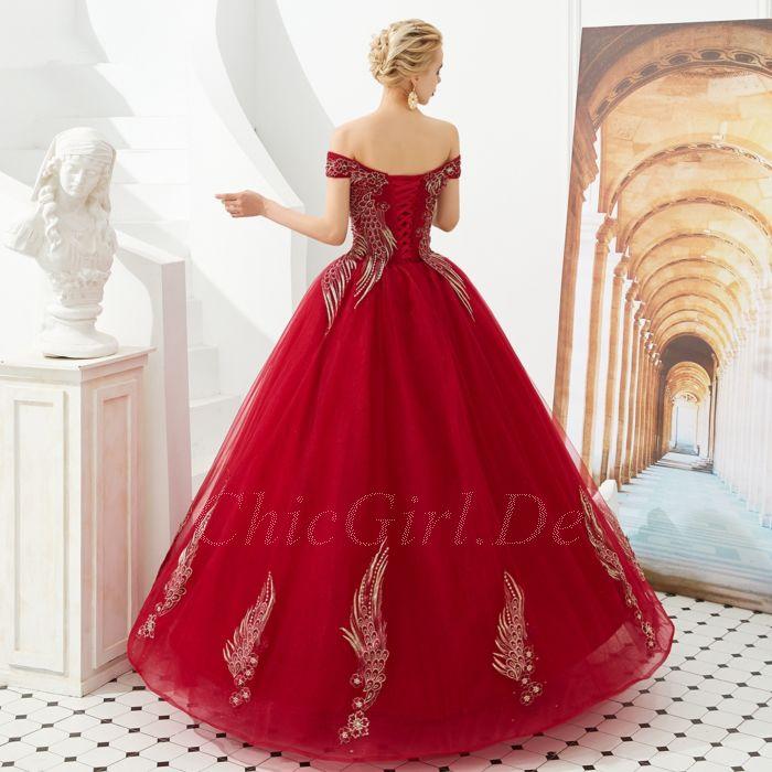 Duchesse Brautkleid Ballkleid Lang Rot Tull Spitze Carmen Ausschnitt