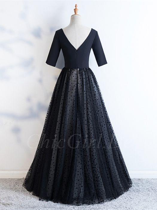 big sale e3d65 0c173 Elegante A Linie Abiballkleider Abendkleid V Ausschnitt Lang Schwarz Satin  Tüll Punkte Mit Ärmel