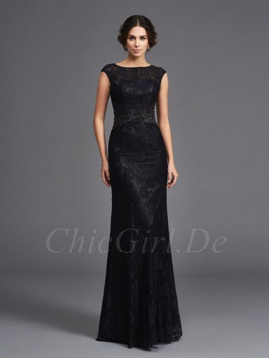 san francisco ddeb5 96ce7 Elegante Abendkleid Brautmutterkleider Lang Schwarz Spitze U Boot Ausschnitt