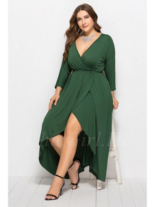 huge discount 74a62 4c951 Elegante Kleid Große Größe Schwarz Jersey Vokuhila Langarm V Ausschnitt