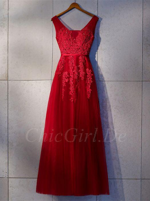 Abendkleid rot lang rückenfrei