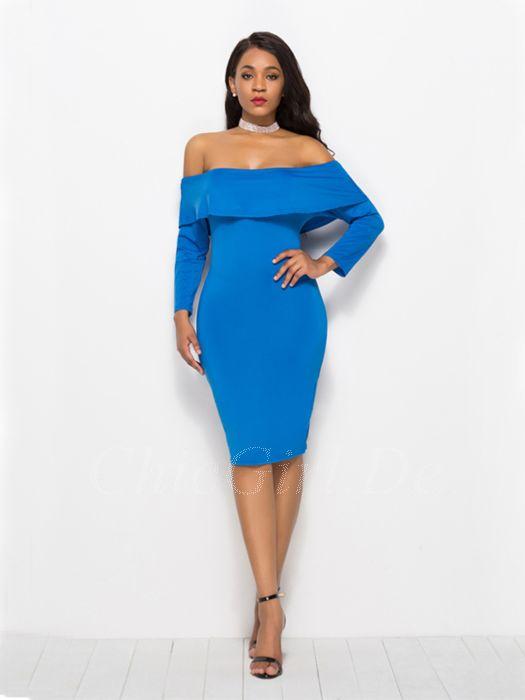 verkauft suche nach neuesten neueste kaufen Etuikleid Schulterfreies Kleid Kurz Blau Mit Ärmel Carmen Ausschnitt