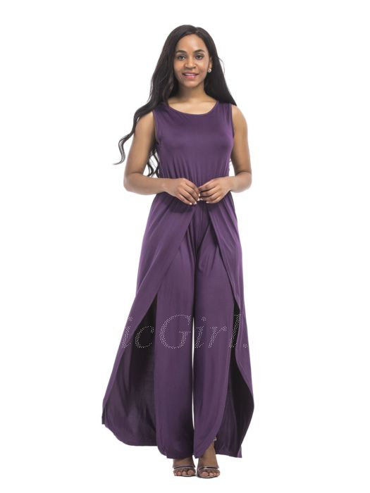 the latest f6fcf fccd4 Festlich Damen Cocktail Jumpsuit Overall Lila Lang Mit Umhang