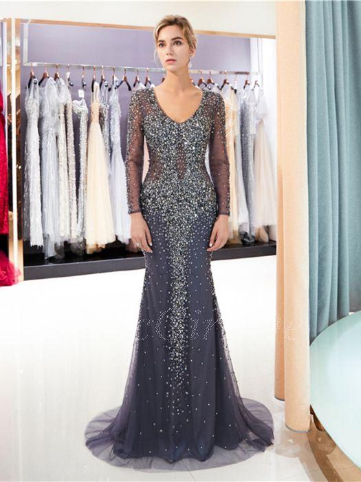 Festliche Abendkleid Ballkleid Transparent Meerjungfrau Langarm Dunkelblau Tull Perlen Strass