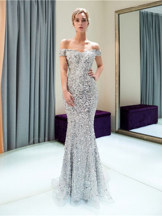 save off 55bb9 4d924 Festliche Designer Abendkleid Ballkleid Glitzer Meerjungfrau Carmen  Ausschnitt Silber Pailletten