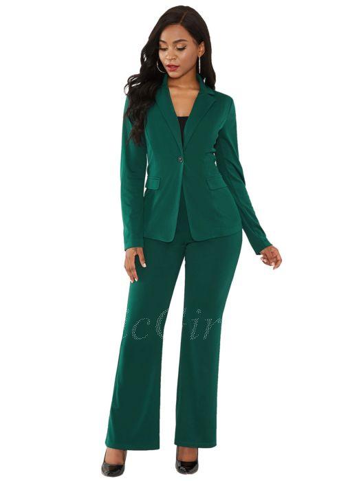 Festliche Hosenanzug Damen Elegant Business Anzug Dunkelgrün