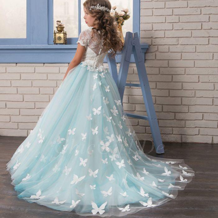new styles 9fc48 21b78 Festliche Kindermode Blumenmädchen Kleid Hellblau Tüll Spitze  Schmetterlingen Mit Ärmel