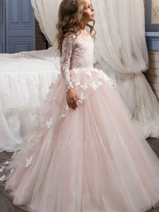 Festliche Kindermode Blumenmadchen Kleid Langarm Rosa Tull Spitze Schmetterlingen