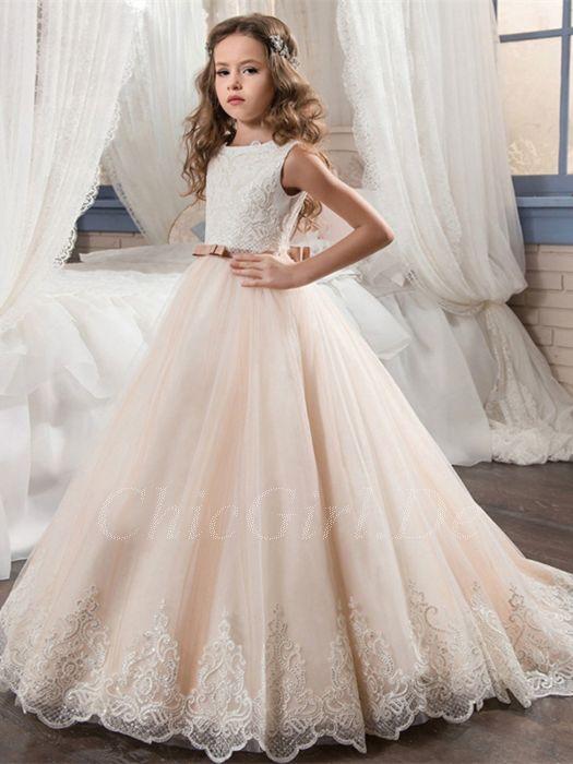 klassisch tolle Passform bieten Rabatte Festliche Kindermode Hochzeit Blumenmädchen Kleid Apricot Tüll Spitze Gürtel