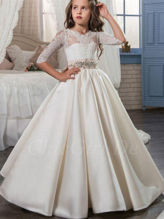 bieten Rabatte günstiger Preis modernes Design Festliche Kindermode Hochzeit Blumenmädchen Kleid Lang Satin Spitze Ärmel  Perlen Gürtel