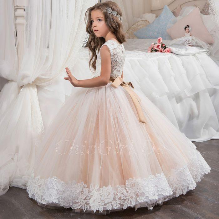 Festliche Kindermode Hochzeit Blumenmadchen Kleid Rosa Tull Spitze Strass Gurtel