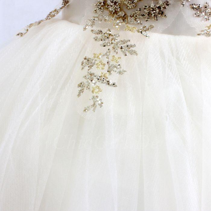 Festliche Kindermode Hochzeit Blumenmädchen Kleid Weiss Tüll Gold Spitze Glitzer