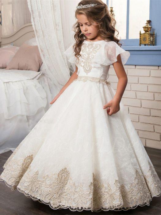 beliebt kaufen zuverlässige Qualität moderner Stil Festliche Kindermode Hochzeit Blumenmädchen Kleid Weiss Tüll Spitze Rüschen  Ärmel