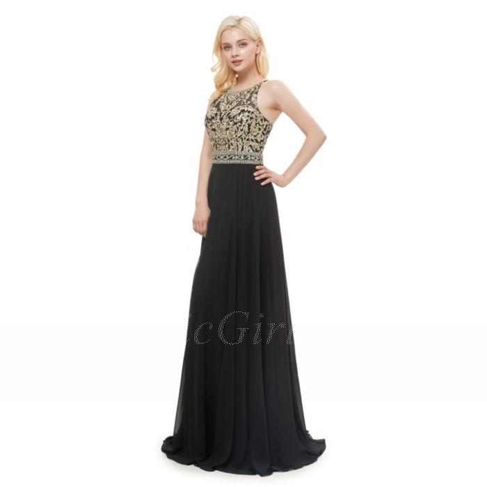 outlet store 1522e 04e68 Festliche Kleider Abendkleid Lang Schwarz Gold Stickerei Chiffon Fließend