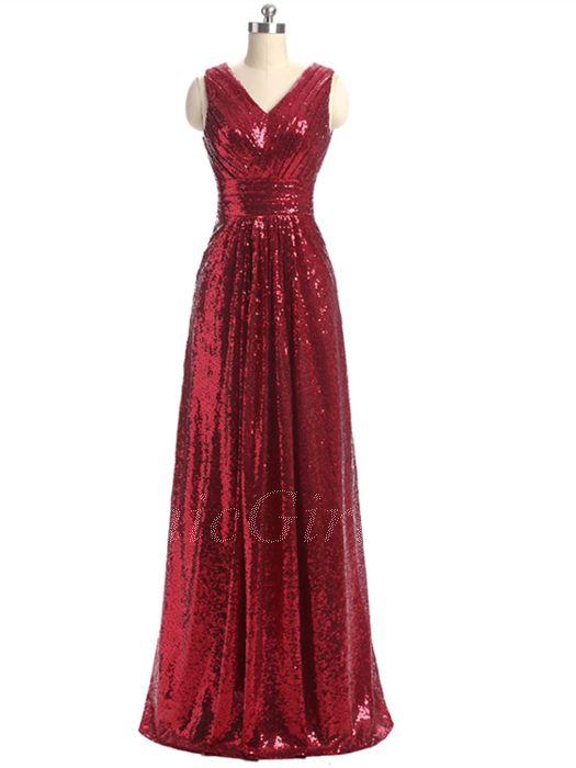 Schuhe für billige suche nach neuesten Mode Glitzer Brautjungfernkleider Abendkleid V Ausschnitt Lang Weinrot  Pailletten Falten