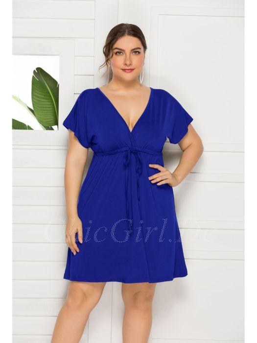 Kleid Empire Fur Mollige Umstandskleider Grosse Grossen Kurz Blau V Ausschnitt