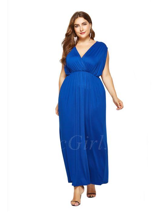 Blau Maxikleid V Kleid Ausschnitt Für Mollige Größen Große Empire PuOXiZwkT