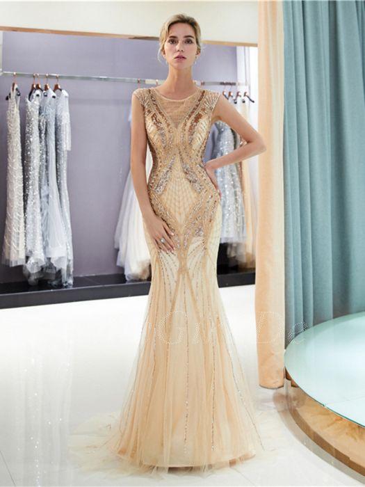 cheaper 094c1 b1060 Luxus Designer Abendkleid Ballkleid Meerjungfrau Gold Tüll Perlen  Pailletten Glitzer