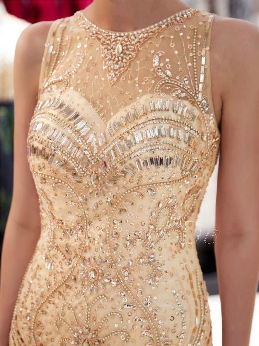 Luxus Glitzer Festliche Abendkleid Ballkleid Meerjungfrau Ruckenausschnitt Gold Tull Perlen Strass