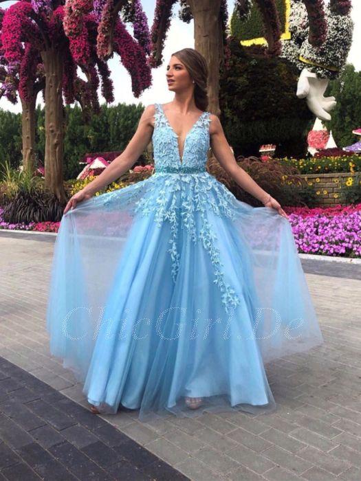 Prinzessin A Linie Ballkleid Lang Hellblau Tüll Spitze Tiefer V Ausschnitt