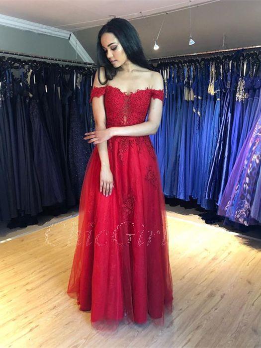 Rabatt Carmen Rot Prinzessin Lang Abiballkleid Spitze Ausschnitt  Kostenloser Versand