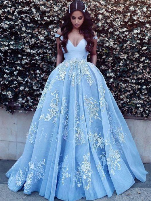 Prinzessin Ballkleid Brautkleid Lang Hellblau Tüll Spitze Carmen Ausschnitt