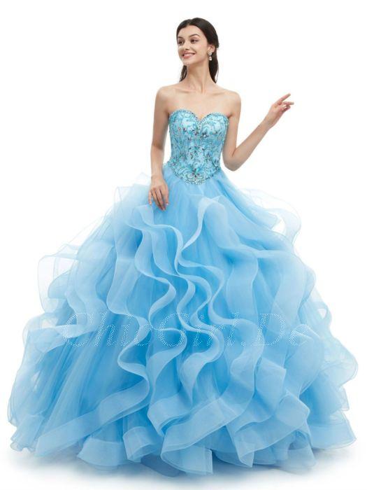 gemütlich frisch wie kommt man Genieße den reduzierten Preis Prinzessin Ballkleid Lang Blau Tüll Rüschen Strass Perlen Herz Ausschnitt