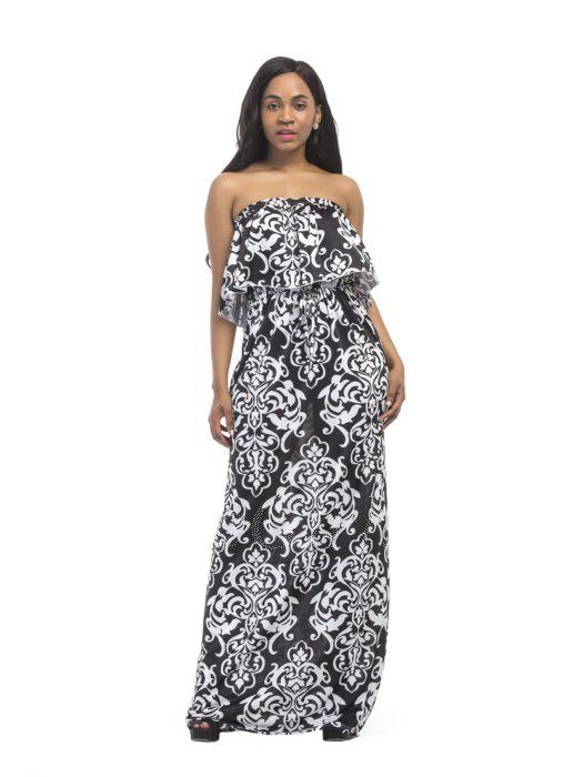 Sommer Boho Strand Asymmetrisches Kleid Lang Schwarz Weiss Blumen