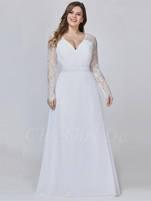 timeless design 902a8 e909f Standesamt Brautkleid Große Größen V Ausschnitt Langarm Weiß Chiffon Spitze  Ärmel