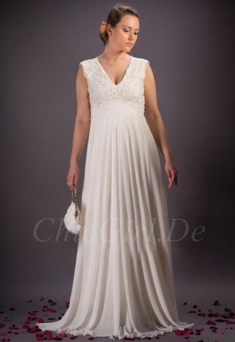 premium selection 88508 acd76 Standesamt Strand Brautkleid V Ausschnitt Empire Lang Chiffon Spitze Ivory