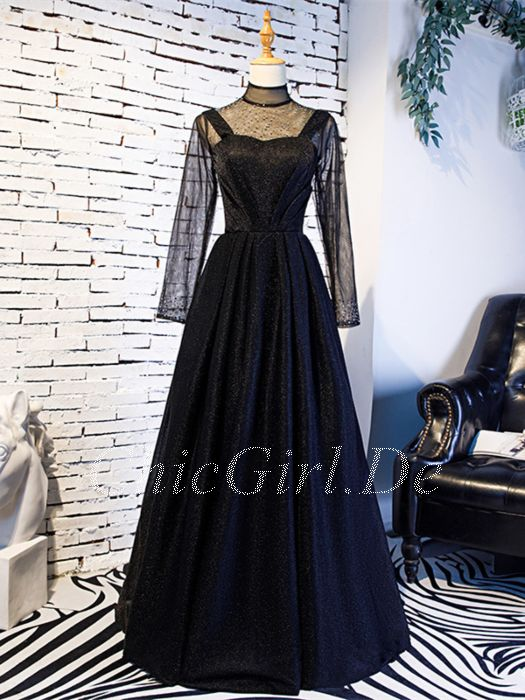 Abendkleid schwarz mit strass