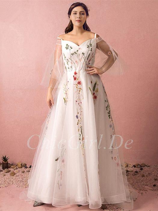 7dadad66bfa A Linie Brautkleid Abendkleid Große Größen Lang Weiß Tüll Farbig  Applikationen Mit Ärmel