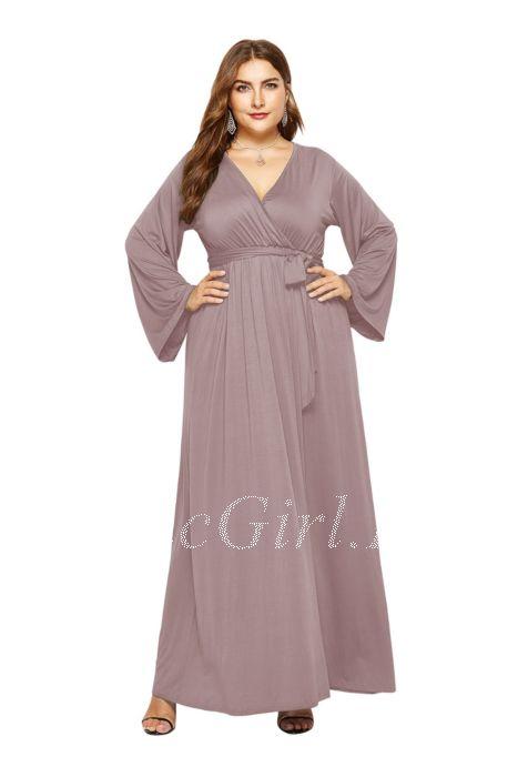 hot sale online 0866b 3be74 V Ausschnitt Wickelkleid Große Größen Kleid Für Mollige Lang Weiß Jersey  Mit Ärmel Gürtel