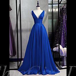 a linie abendkleid ballkleid schlicht elegant lang königsblau seide satin v ausschnitt