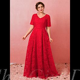 a linie abendkleid ballkleider große größen v ausschnitt lang rot spitze mit Ärmel
