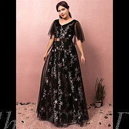 a linie abendkleid ballkleider große größen v ausschnitt lang schwarz tüll mit gürtel Ärmel