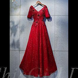a linie abendkleid ballkleider v ausschnitt lang rot spitze perlen mit Ärmel