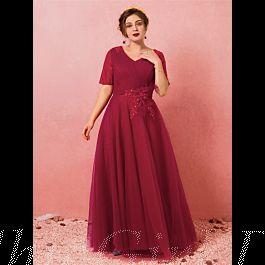 A Linie Abendkleid Große Größen Ballkleid Für Mollige V ...
