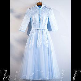 A Linie Brautjungfernkleider Abendkleid Stehkragen ...