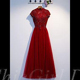 Abendkleid Abiballkleid Lang Rot Tüll Perlen Stehkragen ...