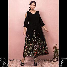 abendkleid ballkleider große größen v ausschnitt cold shoulder wadenlang schwarz tüll florales