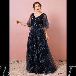 Abendkleid Ballkleider Große Größen V Ausschnitt Lang ...